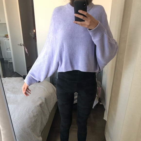 Lavender purple wilfred slouchy cropped sweater